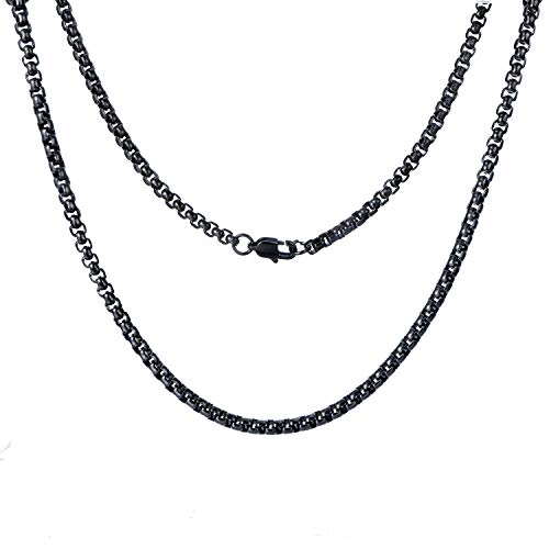 (FEEL STYLE 4mm Stainless Steel Black Rolo Necklace for Men Women - Box Cable Chain)