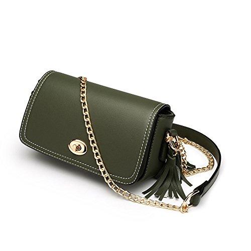 Summer Oblique Green Bag of Version Bag Backpack Shoulder Simple Students Chain Wild Handbags Korean Color Green qAzSEUw