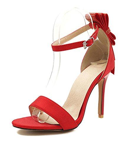 Schleife Brautschuhe Damen Offene Zehen Rot Stiletto Knöchelriemchen Strass Sandale Aisun XTARxWn0n