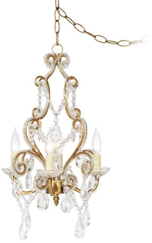 Antique Gold With Clear Beads Swag Plug In Chandelier