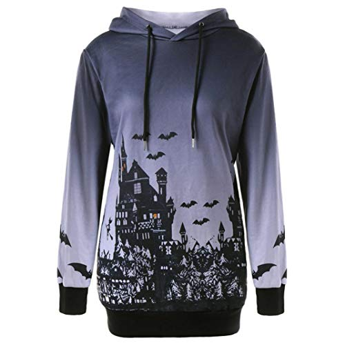 iYBUIA Halloween Ladies Gray Hooded Witch Bat Print Drawstring Pocket Hoodie Sweatshirt Tops(Gray ,L)
