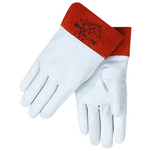 Black Stallion 24K Short Cuff Grain Kidskin TIG Welding Gloves, Large