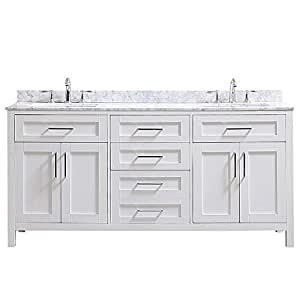 Ove Decors Tahoe 72w Marble Top Bathroom Double Sink Vanity 72 Inch By 21 Inch White
