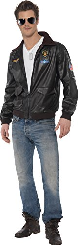 [Smiffy's Men's Top Gun Bomber Jacket, Top Gun, Size: L, Colour: Brown, 39447] (Top Gun Bomber Jacket Costume)