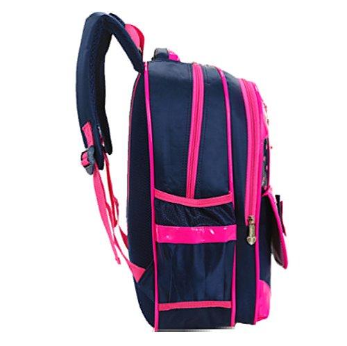 Tibes Mochila de Nylon Mochila escolar ligera Mochila encantadora 2pcs fijaron el bolso de libro para las niñas Rosa Rosa