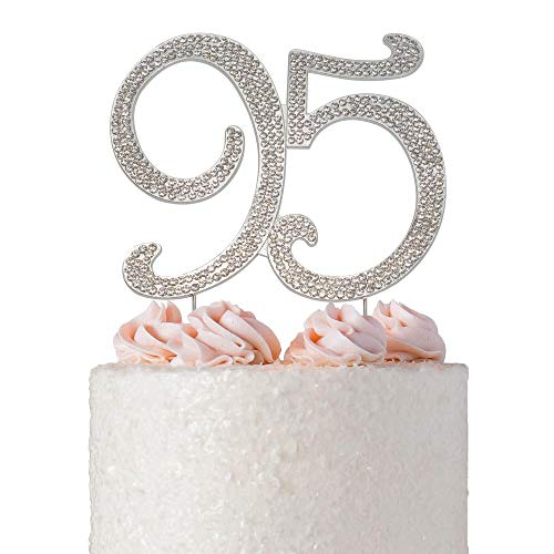 95 SILVER Cake Topper | Premium Sparkly Crystal Rhinestones | 90th Birthday or Anniversary Party Decoration Ideas | Quality Metal Alloy | Perfect Keepsake