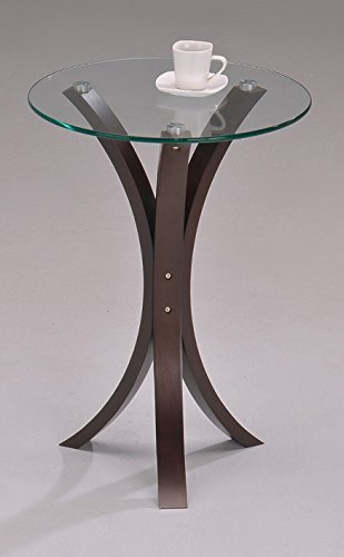 Round Glass Walnut Finish Chair Side End Table (Walnut Round Table)