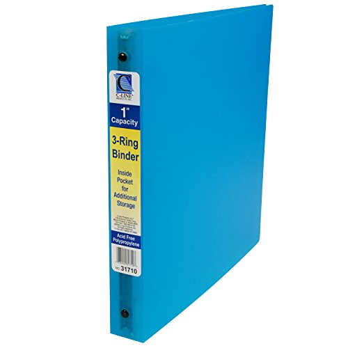 C-Line 3-Ring Poly Binder with Inner Pocket, Letter Size, 1-