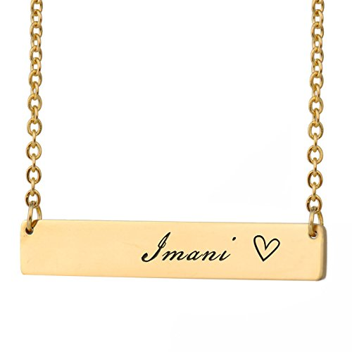 HUAN XUN Imani Name Cheap Custom Name Necklace Bar Initial Necklace Personal Jewelry Birthday Valentine Gift
