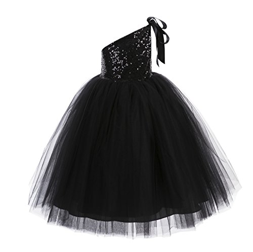 Sparkle Flower Girl Dress - ekidsbridal One-Shoulder Sequin Tutu Flower Girl