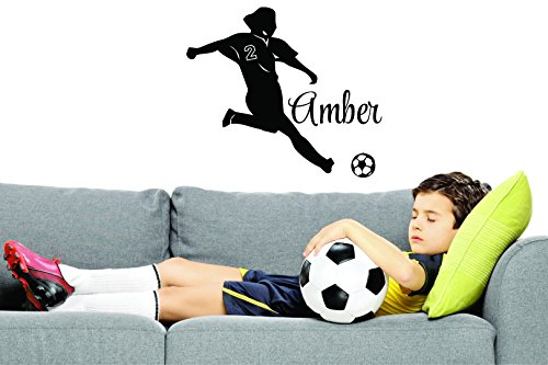 PERSONALIZED Custom Name & Number Soccer Player Sports Team Kids Sticker Vinyl Wall Decal 14 Inches x 28 Inches by Design with Vinyl