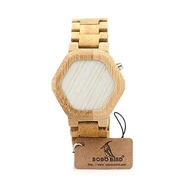 mingxiao Relojes De Pulsera Bambú Reloj Digital Reloj De Pulsera Banda De Cuero Madera Señora Vintage LED: Amazon.es: Salud y cuidado personal