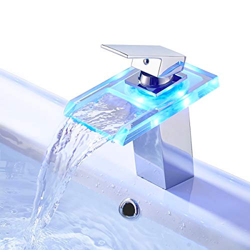 ROVATE Bathroom Sink LED Waterfall Faucet 3 Colors Changing Temperature Control Light Mixer Polished Chrome Tap