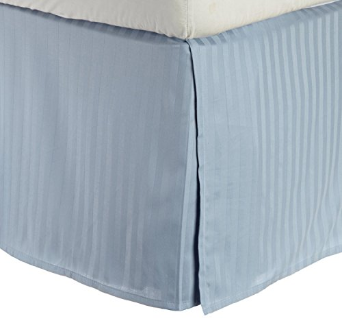 USA Special! 1-Piece Split Corner 21'' Drop Length Pleated King Bed Skirt , Light Blue Striped---400 Thread Counts, 100% Egyptian Cotton By SRP LINEN