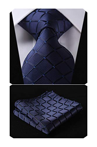 (HISDERN Plaid Blue Tie Handkerchief Woven Classic Men's Necktie & Pocket Square Set,Navy Blue,One Size )