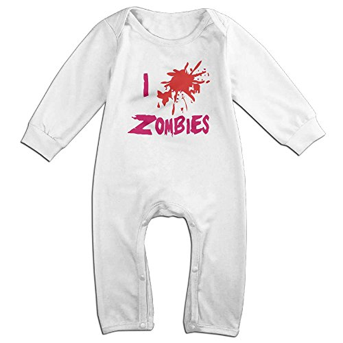 Best Zombie Outfits (Zhu Bajie Soft Love,Zombies I Love Zombies Long-Sleeve Jumpsuit Playsuit Outfits For Newborn Baby White 6 M)