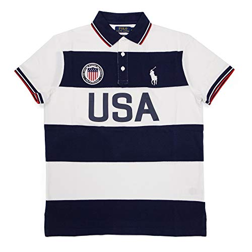 Polo Ralph Lauren Mens Custom Slim Fit Country Polo Shirt (USA French Navy, Large) ()