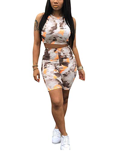OLUOLIN Womens Two Piece Shorts Sets - Summer Casual Sleeveless Tracksuit Outfits Jumpsuits Rompers for Sports Workout Yoga Jogging Suits Orange