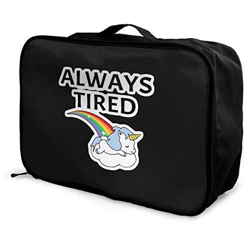 X-K2 Multifunctional Fashion Travel Duffel Storage Bag Water Resistant Always Tired - Sleeping Unicorn Lightweight Large Capacity Portable Luggage Bag