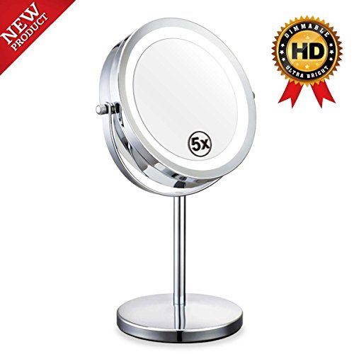 Mirror - 7in LED Makeup Mirror With Lights,1x/5x Magnifying Vanity Mirror With Stand,Round Cosmetic Mirror for Bathroom or Bedroom Countertop,Desk Mirror With 360° Rotation (Round Vanity Stand Mirror)