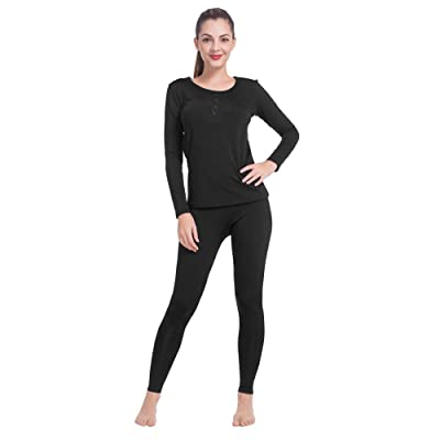MANCYFIT Thermal Underwear for Women Fleece Lined Long Johns Set Ultra Soft Top & Bottoms at Women's Clothing store