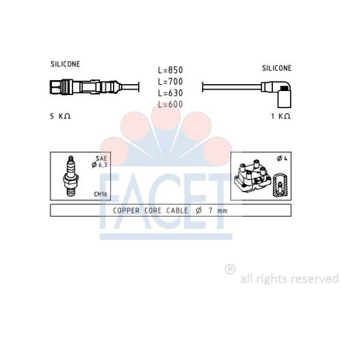 Facet 4.9601 Ignition Leads Kit: