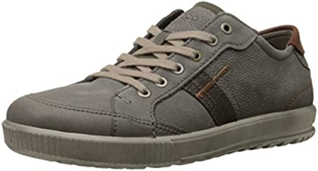 ECCO Men's Ennio Retro Sneaker Fashion Sneaker, Warm Grey/Cognac, 44 EU/10-10.5 M US