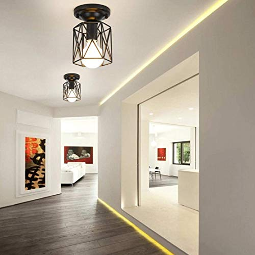 BOSSLV Industry Ceiling Light Retro Design E27 Fixture Ceiling Lamp Loft Metal Iron Black Lampshade Limelights Indoor Decorative Lighting Bulb for Wall Corridor Balcony Dining Hall -
