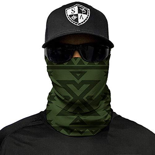 Company Olive - SA Company Face Mask Shield Protective Balaclava Bandana MicroFiber Tube Neck Warmer - Aztec Dark Olive Green