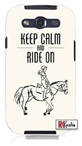 Horse Pony Equestrian Keep Calm And Ride On Unique Quality Hard Snap On Case for Samsung Galaxy S3 SIII i9300 (WHITE)