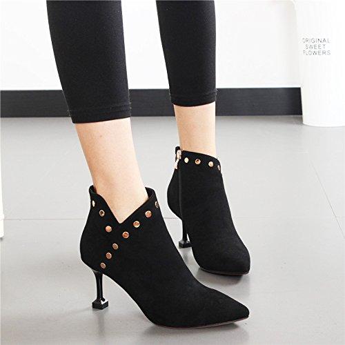 Hbdlh Wild Moda E Donna Cat 7cm Donna Short Velvet Rivetti Alti Autunno Tacchi Silk Scarpe Nero Boots Inverno Da Heels Martin r81gr