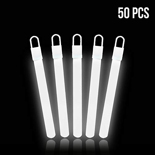 Lumistick 4 Inch Glow Sticks with Detachable Top Loop & Strings   Non-Toxic Glow in The Dark Camping Night Party Favor Supplies   Bright Colors Light Glowing up to 12 Hours (White, 50 Glow Sticks)