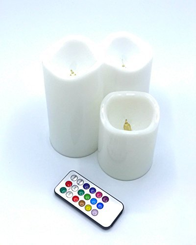 Jones Best Buy Flameless Pillar Candle Set of 3 (4'' 5'' 6'') Dripless Wax LED Pillar Lights Battery Operated Flickering 12-Color Remote Control Christmas Baby Party Wedding Meditation by Jones Best Buy