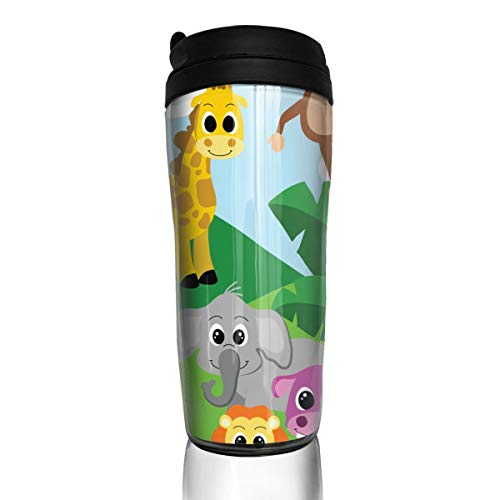 Coffee Mug Jungle Clip Art Travel Tumbler Insulated Leak Proof Drink Containers Holder Unique 12 Ounces