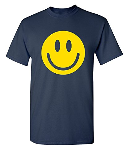 Smile Face Emoticons Novelty Graphic Sarcastic Happy Face Humor Funny T Shirt 3XL Navy