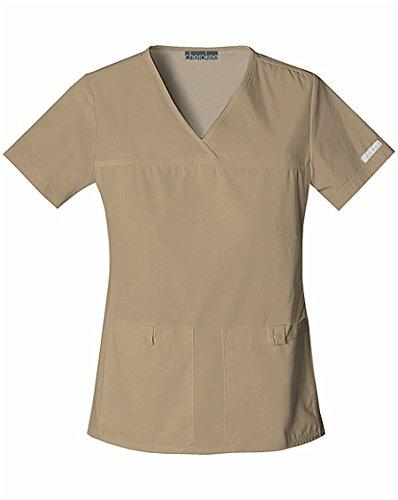Cherokee Womens Flexibles Sporty V-Neck Knit Panel Top, Dark Khaki, XXXXX-Large (Scrubs New Natural Uniforms Top)