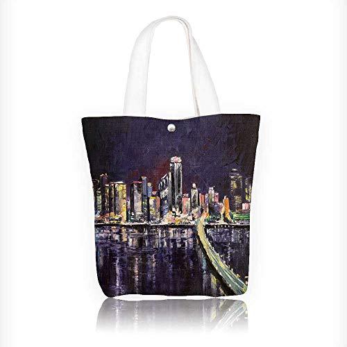 (Ladies canvas tote bag miami coast lights late even original palette knife oil paint on canvas reusable shopping bag zipper handbag Print Design W11xH11xD3)