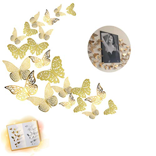Gold Glitter Butterfly Decals Wall Stickers 3D Room Decorations Stickers for Kids Girl Boy Bedroom Home Decor Wedding Birthday Baby Shower Party Supplies(36pcs) ()