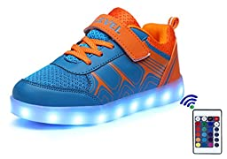 SLEVEL 16 Colors LED Light Up Shoes USB Flashing Sneakers for Kids Boys Girls(SL68Orange33)