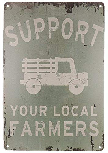 TISOSO Support Your Local Farmers Funny Truck Coffee Cup Signs Retro Vintage Bar Metal Tin Sign Poster Style Wall Art Pub Bar Decor Size 8