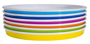 Amazon.com | Zak Designs Park 6-Piece Dinner Plate Set Assorted Colors Accent Plates  sc 1 st  Amazon.com & Amazon.com | Zak Designs Park 6-Piece Dinner Plate Set Assorted ...