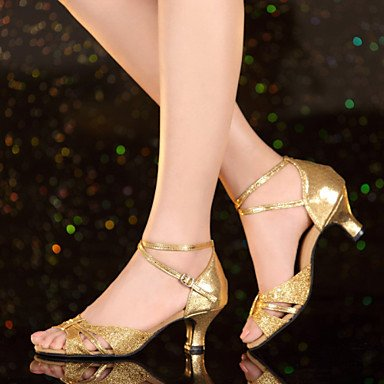 XIAMUO Nicht anpassbar - Die Frauen tanzen Schuhe Leder/Lack Leder Leder/Lackleder Latin Heels kubanischen HeelPractice/Beginner/, Gold, US5/EU 35/UK3/CN34