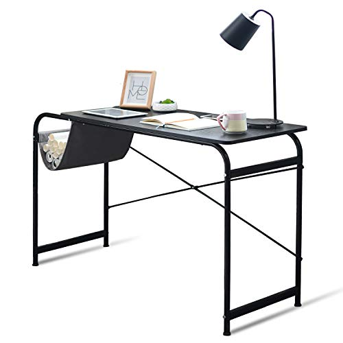 Qwork Writing Computer Desk with Storage Basket Desk Industrial Modern Simple Laptop Desk Wooden Study Workstation Space Saving Table for Home Office Notebook Desk, Black Willow ()
