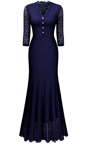 Miusol Women's Retro V Neck Floral Lace 2/3 Sleeve Wedding Long Dress, Navy Blue, Medium