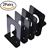 Agyvvt 2 Pair/4 Piece Bookends Universal Black Nonskid Heavy Duty Metal Book Ends Supports for Books, Movies, DVDs, Magazines, Video Games, Standard, 6 x 4.6 x 6.inch