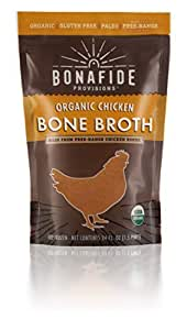 Bonafide Provisions Organic Fresh-Frozen Chicken Bone Broth. Non GMO Small Batch, KETO Friendly, Low-Calorie, Healthy Collagen Rich, Low-Fat Post Workout Supplement! Bulk 12-pack.