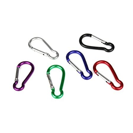 10X Black Carabiner Camp Spring Snap Clip Hook Keychain Keyring Climbing Hiking