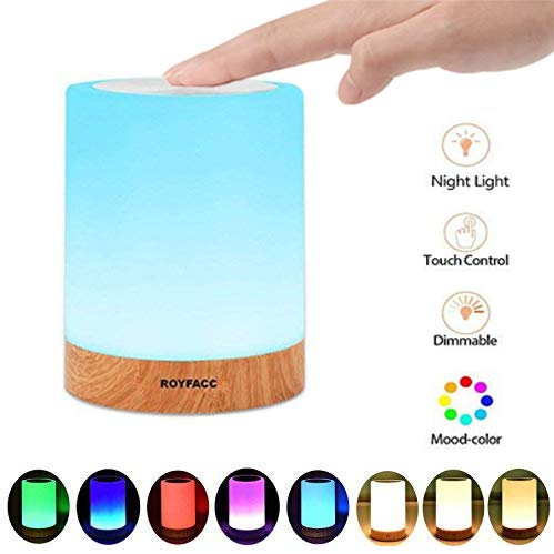 ROYFACC Table Lamp Touch Sensor Lamp Bedside LED Night Light for Kids Bedroom Rechargeable Dimmable Warm White Light + RGB Color Changing