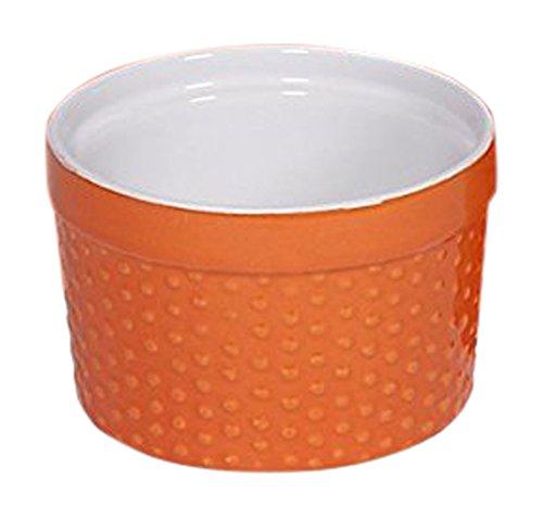 Home Essentials 66474 Mini Stoneware Hobnail Orange Ramekins 6 oz