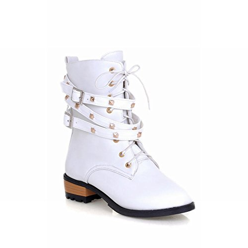 Low Chunky Women's Boots White Fashion Buckle Heel Lace Casual Studded Shoes Martin Carol Ankle up ABUz88